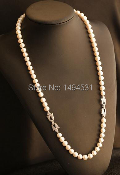 Natural Pearls Necklace 925 Silver Flower Clasp Czech Dia Mond Long Necklace Women s Pearl Jewelry