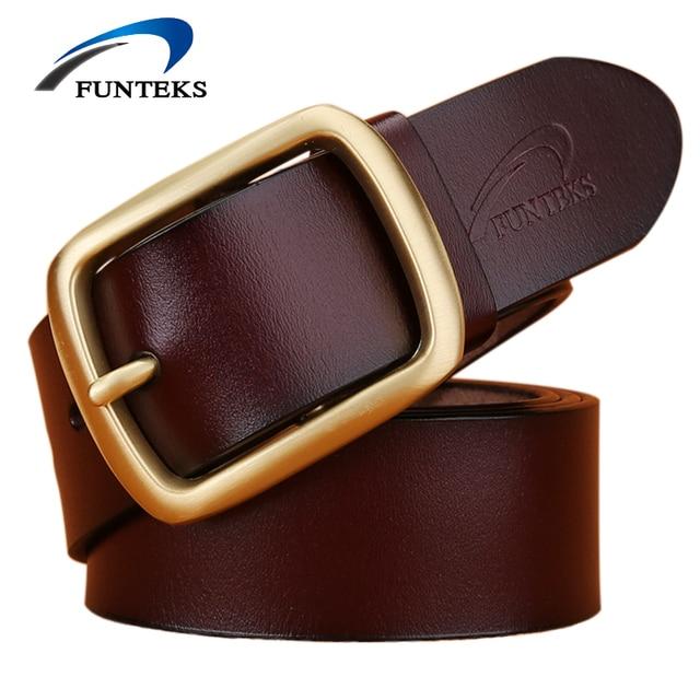 FUNTEKS Brand 2017 New Belts For Men High Quality Cow Genuine Leather Belt Men Fashion Designer Strap Male Ceinture Homme Tide