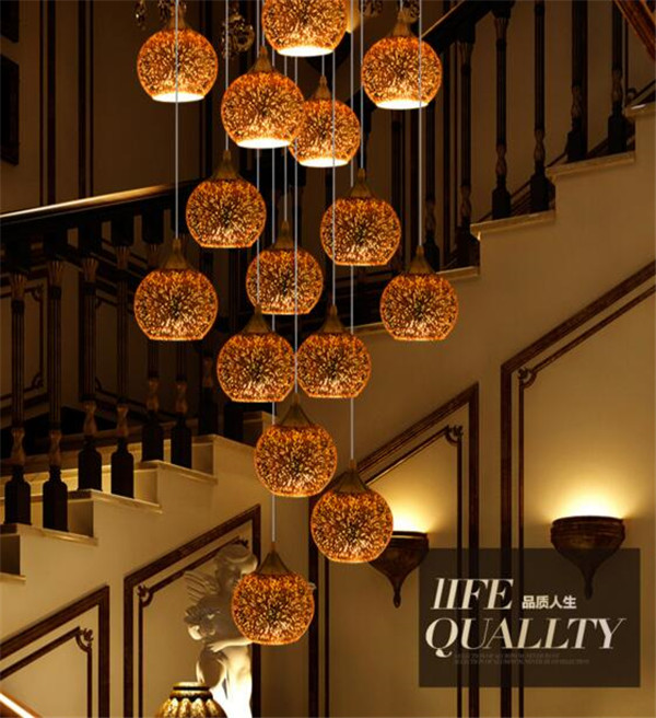 hot selling modern stairs droplight  3D Creativity colour glass  pendant lighting +free shipping
