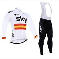 2018 Autumn SKY Pro TEAM White Cycling JERSEY Quick Dry Ropa Ciclismo Mens Bicycle Clothing GEL Breathable Pad Bib Pants Sets