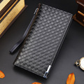 2016 New Pu Men Long Wallet Casual Knitting Purse Business Money Clip Pocket Purse Notecase Fashion Wristlets Male Clutch Bag