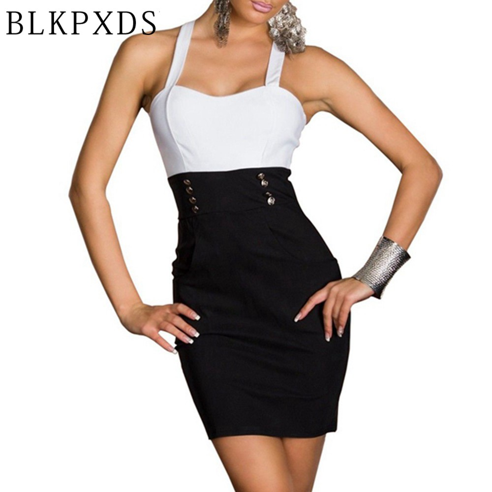 Summer Sexy Black  White Clubwear Dance Clothing Office -7891