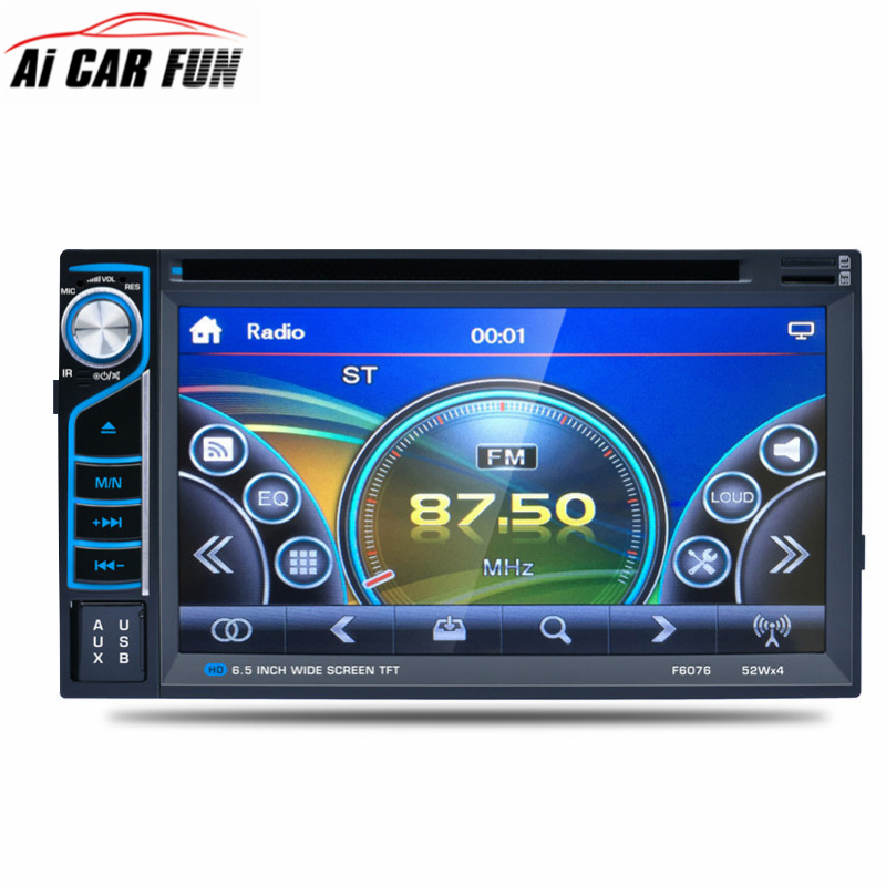 Universal Double DIN Car DVD Player Car DVD Bluetooth Radio Support Front And Rear View Camera Input F6076B Remote Control DVD
