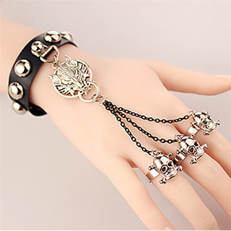 Punk Jewelry Black Faux Leather Bracelet Skull Finger Charm Slave Bracelets For Men Women Wolf Wristband With Link Chain