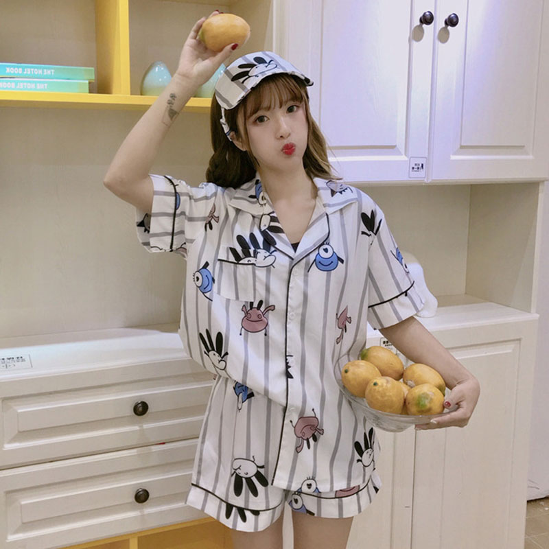 Spring-Summer New Style Korean-style-style Printed Cartoon Cute Adorable Set Short Sleeved Pajamas Best Friend Home Wear Send Ey