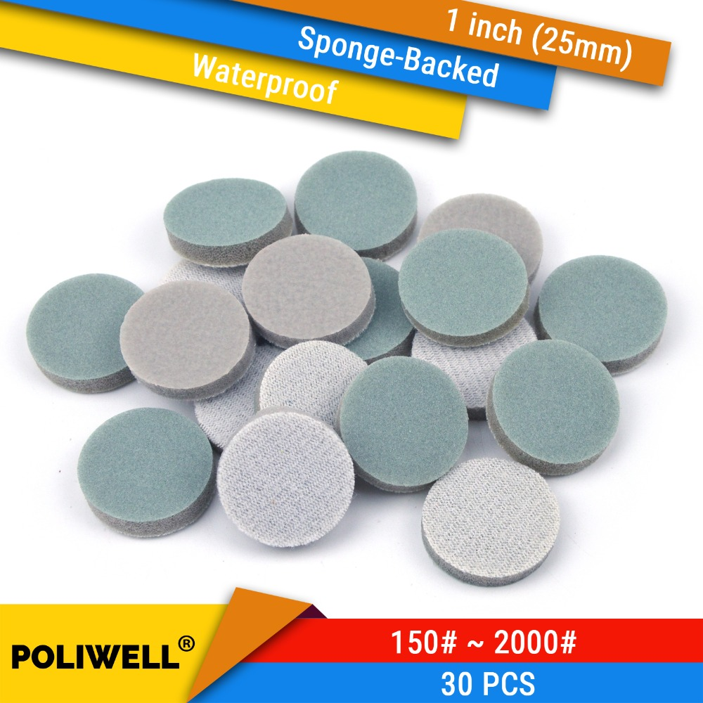 30PCS 1 Inch(25mm) Sponge-Backed Hook&Loop Waterproof Sanding Discs Round Sanding Sponge For Dremel Tools Polishing Accessories