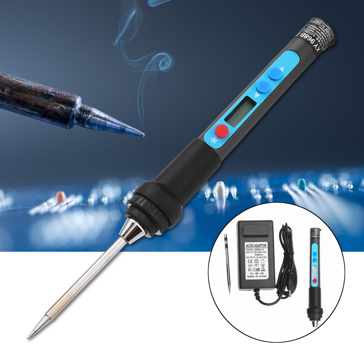 DC 12V 40W LCD Adjustable Temperature Electric Soldering Iron Set Welding Solder Station Heat Pencil Repair Tool Kit minki cheng юбка длиной 3 4