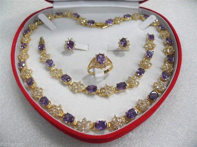 Femmes bijoux améthyste jaune collier Bracelet boucle d'oreille bague définit > AAA 18 K GP plaqué or de mariée large montre ailes reine JEWE