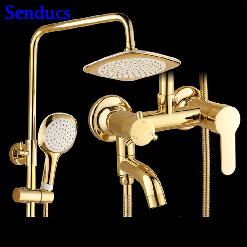 Senducs Brass Gold Shower Set Rainfall Top Shower of Qualtiy ABS Hand Shower with Quality Polished Gold Bathroom Shower SetSenducs Brass Gold Shower Set Rainfall Top Shower of Qualtiy ABS Hand Shower with Quality Polished Gold Bathroom Shower Set