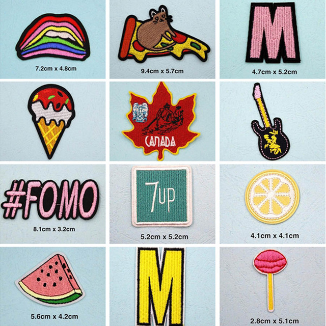 8Pcs Donuts Patches Iron On Embroidered Appliques Stripe Fabric Badges  Jeans Decoration DIY Stickers For Clothes