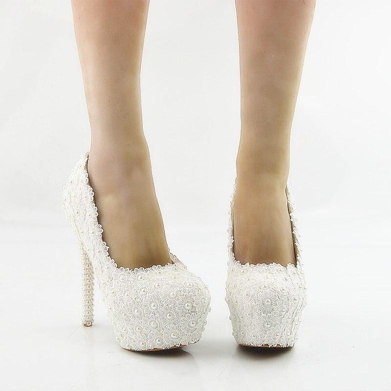 b74b3d44 Blanco Boda Zapatos Altos Las Dulce Flores De La Plataforma Del Impermeable  Vestido Tacones Mujeres Blancas Novia Encaje Perla 5q4wTq1