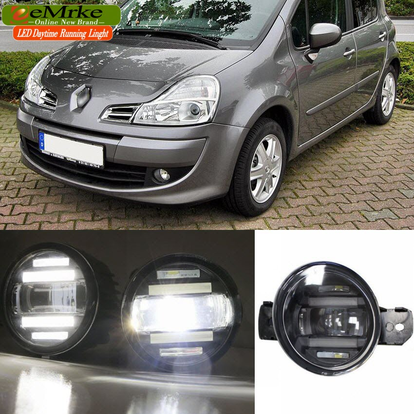 eeMrke Xenon White High Power 2in1 LED DRL Projector Fog Lamp With Lens For Renault Modus 2004-2012