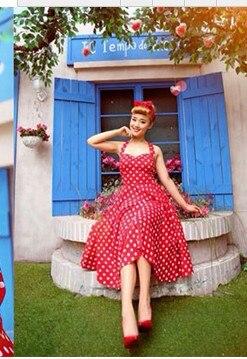 51510285a2f Cotton Women Plus Size Rockabilly Dress Polka Dots Vestidos Vintage 50s 60s  Style Pinup Swing Dance party prom Audrey Retro