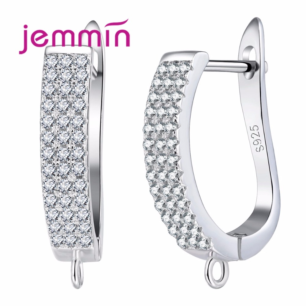 Jemmin New Arrival Full Clear Cubic Zirconia 925 Sterling Silver Earrings For Women Female Lady Party Jewelry High Quality