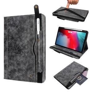 Image 2 - حافظة لجهاز iPad Pro 11 موديل 2018 مع حامل قلم رصاص ، (دعامة شحن قلم رصاص) حافظة جلدية فاخرة مزودة بحامل محفظة واقية + هدية