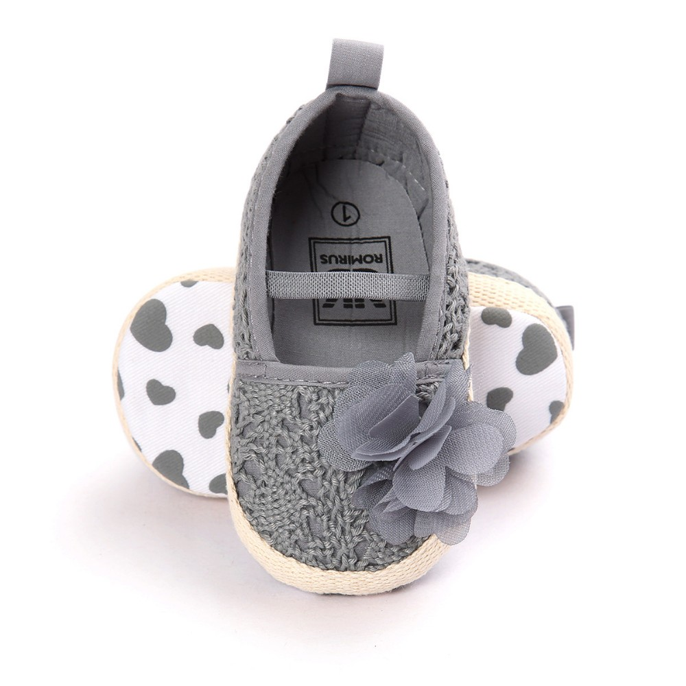 ROMIRUS Baby Girl Newborn Shoes Spring Summer Sweet Very Light Mary Jane flora Knitted Dance Ballet Dress Pram Crib Shoe
