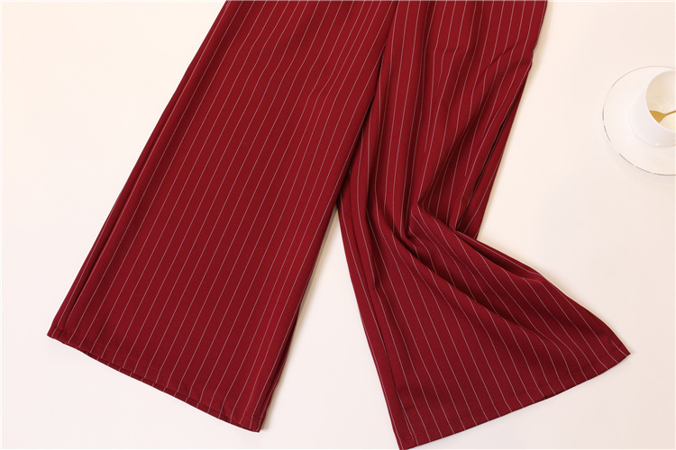 Summer Stripe Camisole Jumpsuit Women V-neck Striped Sexy High Waist Wide Leg Pants Office Ladies Red Black Overall Bodysuit 102