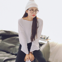 AUFYSO Casual T Shirt Mulheres 2018 Primavera Estilo Coreano Barra Long Neck Manga Curta Tops tee camisa Branca Preta Fina femmeT146