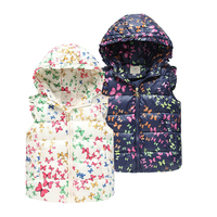 冬の子供ジャケットフード付きベスト女の子のための上着コート動物落書き厚い女の子ベスト女の子暖かいチョッキ赤ちゃん