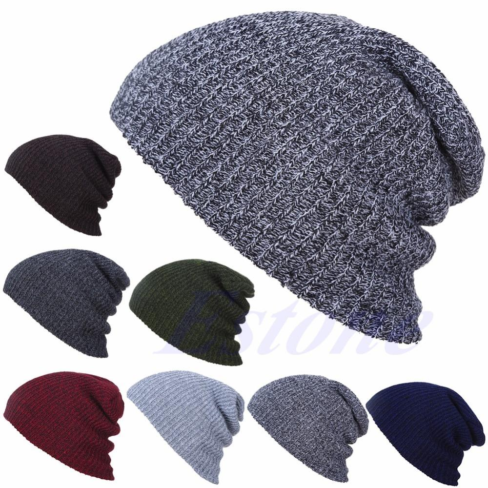 7005198ba89 NEW Men Women Winter Skull Chunky Knit Beanie Baggy Oversize Cap Warm  Unisex Hat