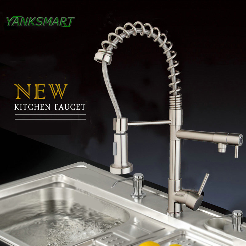 Yanksmart Uk Kitchen Flexible Pull Down Solid Brass Brushed Nickel
