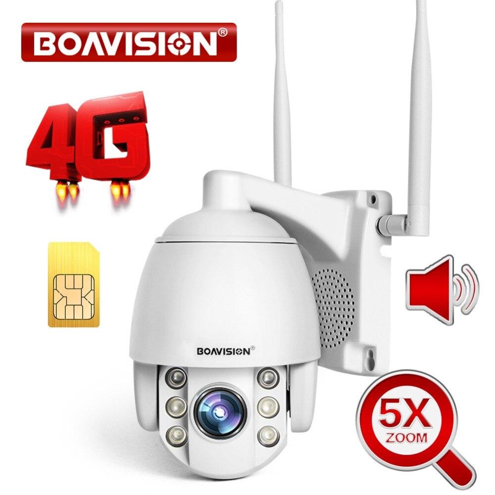 Cartão SIM 3 2MP G 4G 5X Sem Fio Mini Câmera Dome PTZ 1080P Impermeável Ao Ar Livre Zoom/4 mm Lente de Duas Vias de Áudio Câmera de Segurança CCTV