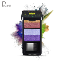 Pudaier 4 Colors Eyeshadow Palette The Nude Eye Shadow Shimmer Glitter Smooth Creamy Powder Makeup Long-lasting