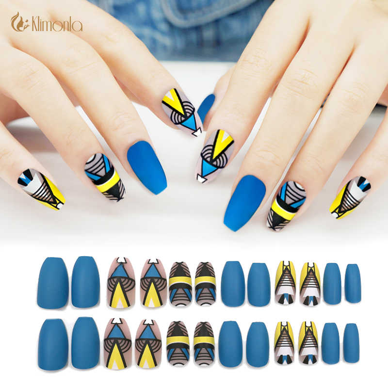 24Pcs Matte Fake Nails Art Decoration Blue and Yellow Ballerina Geometric  design Full Cover False Nails Tips with Glue Sticker