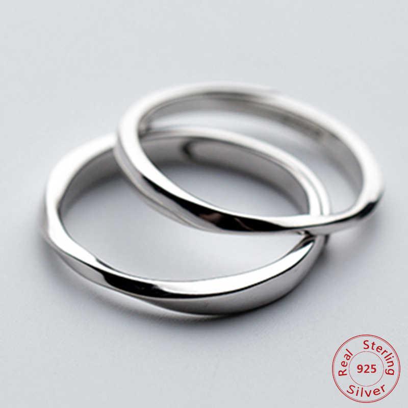 925 เงินสเตอร์ลิงแหวนคู่คลาสสิกนิรันดร์แหวน Mobius สำหรับผู้หญิงผู้ชาย Minimalist ปรับวันวาเลนไทน์