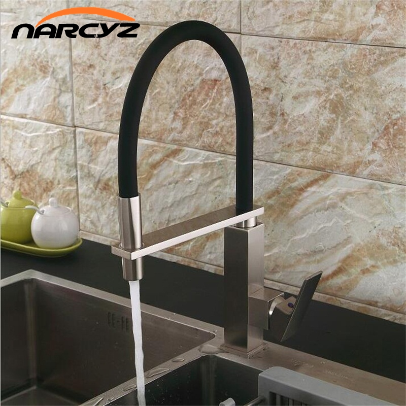 New black pull down kitchen faucet square brass kitchen mixer sink faucet mixer kitchen faucets pull out kitchen tap XT-42 new arrival pull out kitchen faucet chrome black sink mixer tap 360 degree rotation kitchen mixer taps kitchen tap