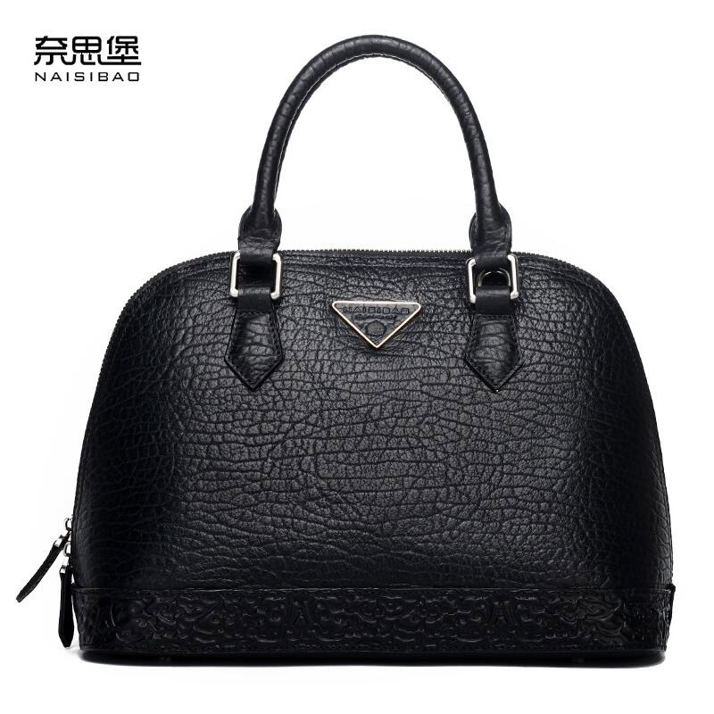 NASIBAO New Handbags Embossed Floral Top quality Cowhide Leather Style Ladies shell bag shoulder Crossbody Bags Handbag nasibao new embossed floral cowhide leather tote style ladies genuine leather bag convertible handle bag shoulder handbags