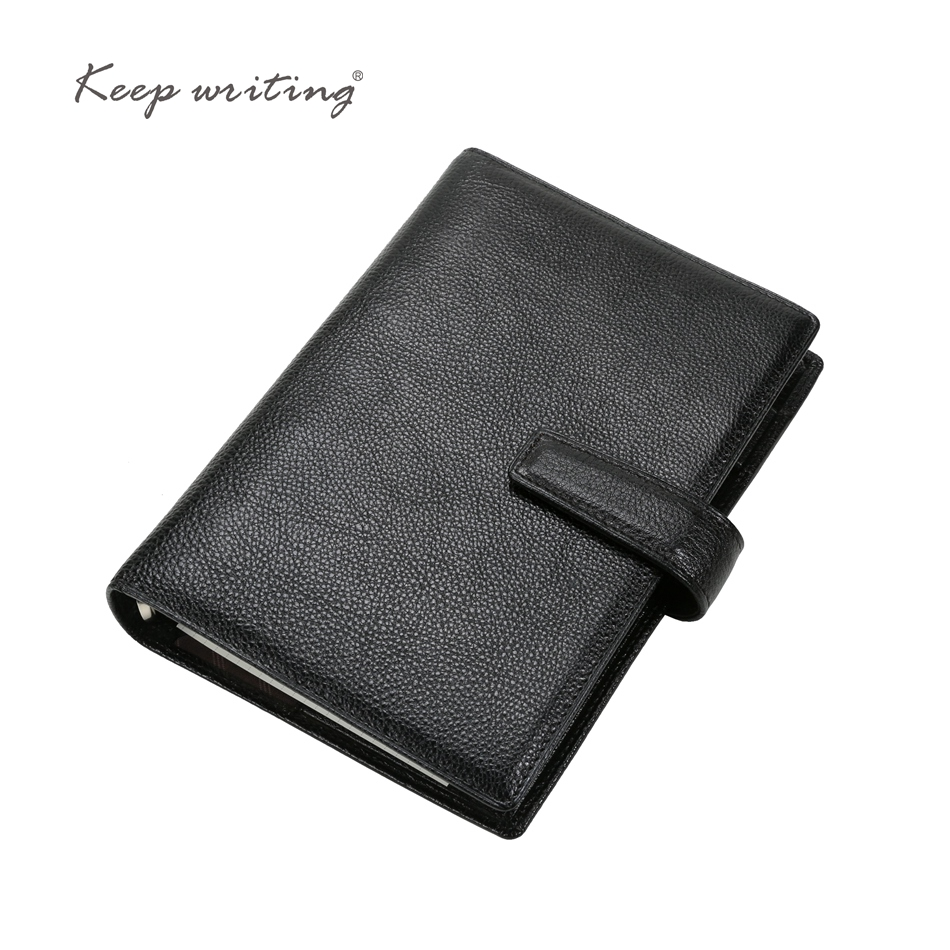 A6 Cowhide notebook 45 sheets 100gsm paper lined pages stationery business gift durable real leather notes with 25mm large ring