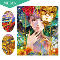 Meian Special Shaped Diamond Embroidery Girl Women Mask 5D Diamond Painting Cross Stitch 3D Diamond Mosaic