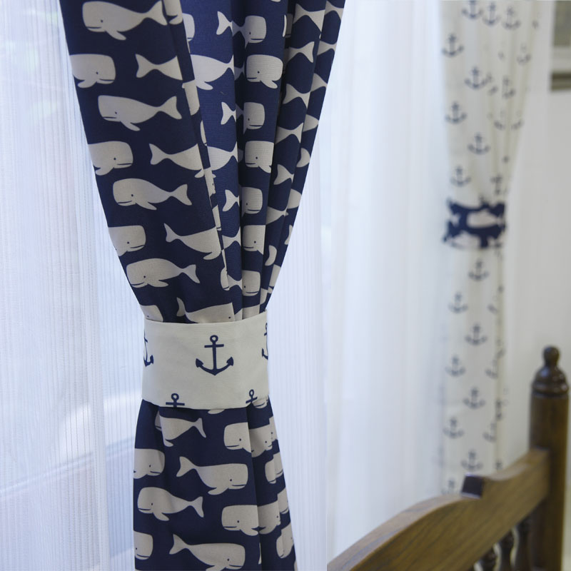 Blue and white sea whale pattern anchor pattern bedroom for Childrens bedroom curtain fabric