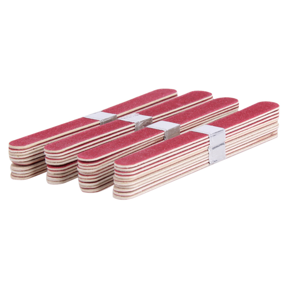 2pcs High Quality Wooden Emery Board Sandpaper Files Nail Art File Manicure Tool Disposable Sanding Nail File Block in Nail Files Buffers from Beauty Health