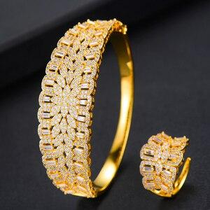 Image 4 - Missvikki El Yapımı Prong Ayarı AAA CZ Bileklik Açık Halka takı seti Lüks Muhteşem Geometrik Kadınlar için Gelin düğün takısı