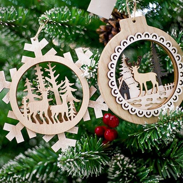 Santa Claus Deer Nowy Rok Naturalne Drewno Choinki Ozdoby Wisiorek Wiszące Prezenty Xmas Decor Home Party Dekoracje 62397