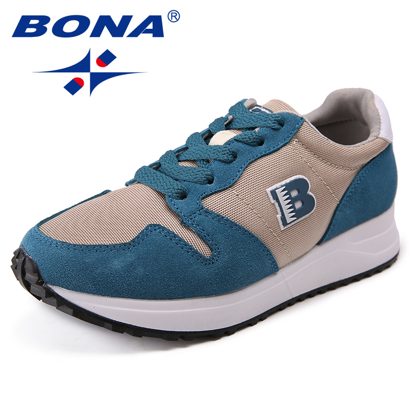 BONA New Arrival Classics Style Women Flats Shoes Lace Up Women Leisure Shoes Mesh Lady Outdoor Fashion Sneakers Free Shipping