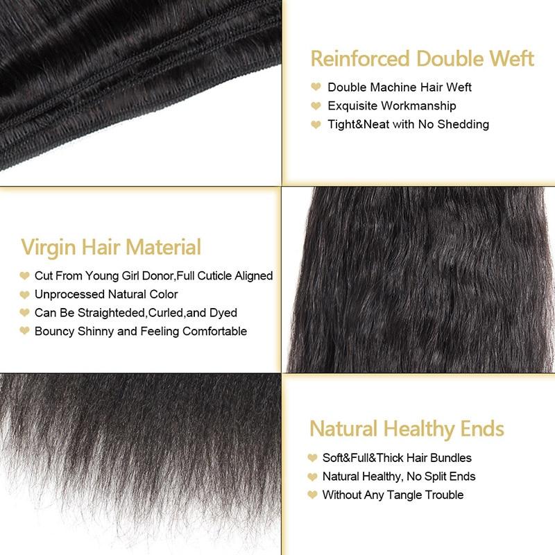 Unprocessed Kinky Straight Hair Brazilian Hair Weave Bundles Coarse Yaki 100% Human Hair Bundles Funmi Virgin Hair Bundles