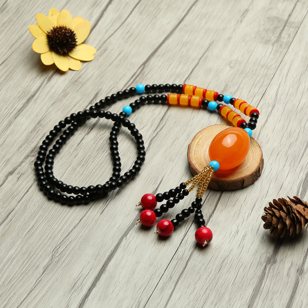 Bohemian Gypsy Ethnic Tassel Olive Beads Pendant Long Sweater Chain Necklace For Women Vintage Jewelry