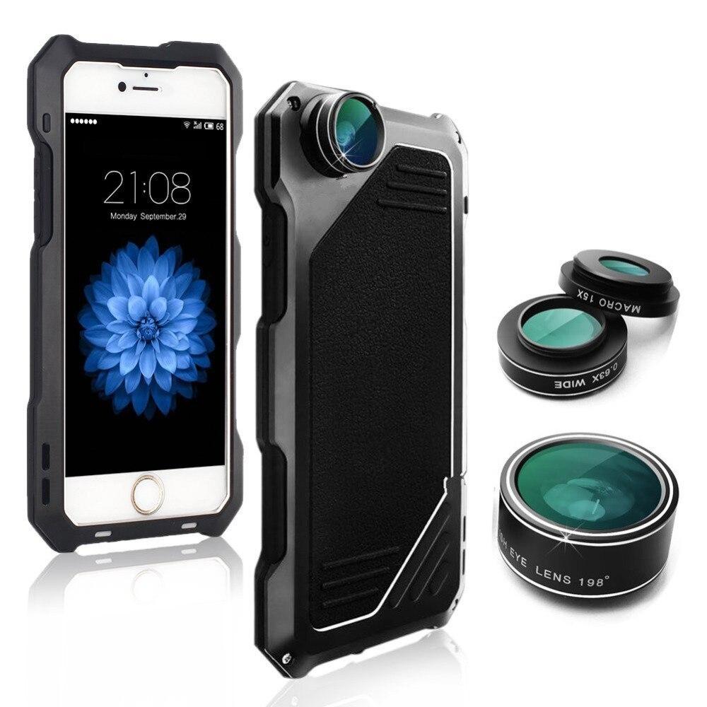 bilder für Fällen für iPhone 6 Fisheye-objektiv IP54 Wasserdichte Rückseite Stoßfest Sport Fall für iPhone 7 7 Plus Breite-winkel Objektiv Capa