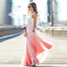 S-XXL Women Elegant Dress Crochet Lace Chiffon Beach Dress Sleeveless Long Party Maxi Dresses MT