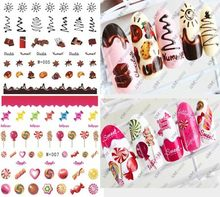 10pcs New candy sticker watermark nail stickers coffee cake nail stickers nail jewelry cute cartoon food nail sticker tools(China)