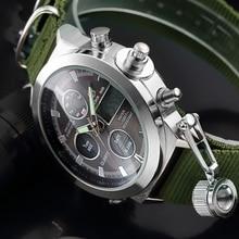 Fashion Brand Mannen Sport Horloges Met Nylon Band Digitale Analoge Horloge Militaire Waterdichte Mannelijke Led Relogio Masculino Gift
