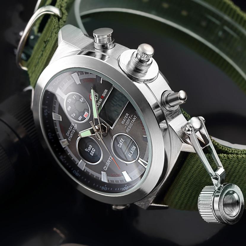 Mode Marke Männer Sport Uhren mit Nylon Strap Digital Analog Uhr Armee Militär Wasserdichte Männliche LED Uhr Relogio Masculino