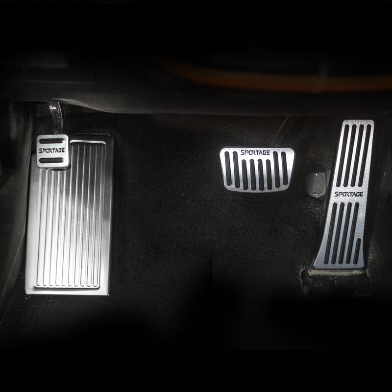 Pedal de acelerador de freno de coche de aluminio, reposapiés cubre pedales antideslizantes para Kia Sportage 4 2016 2017 2018 2019 accesorio