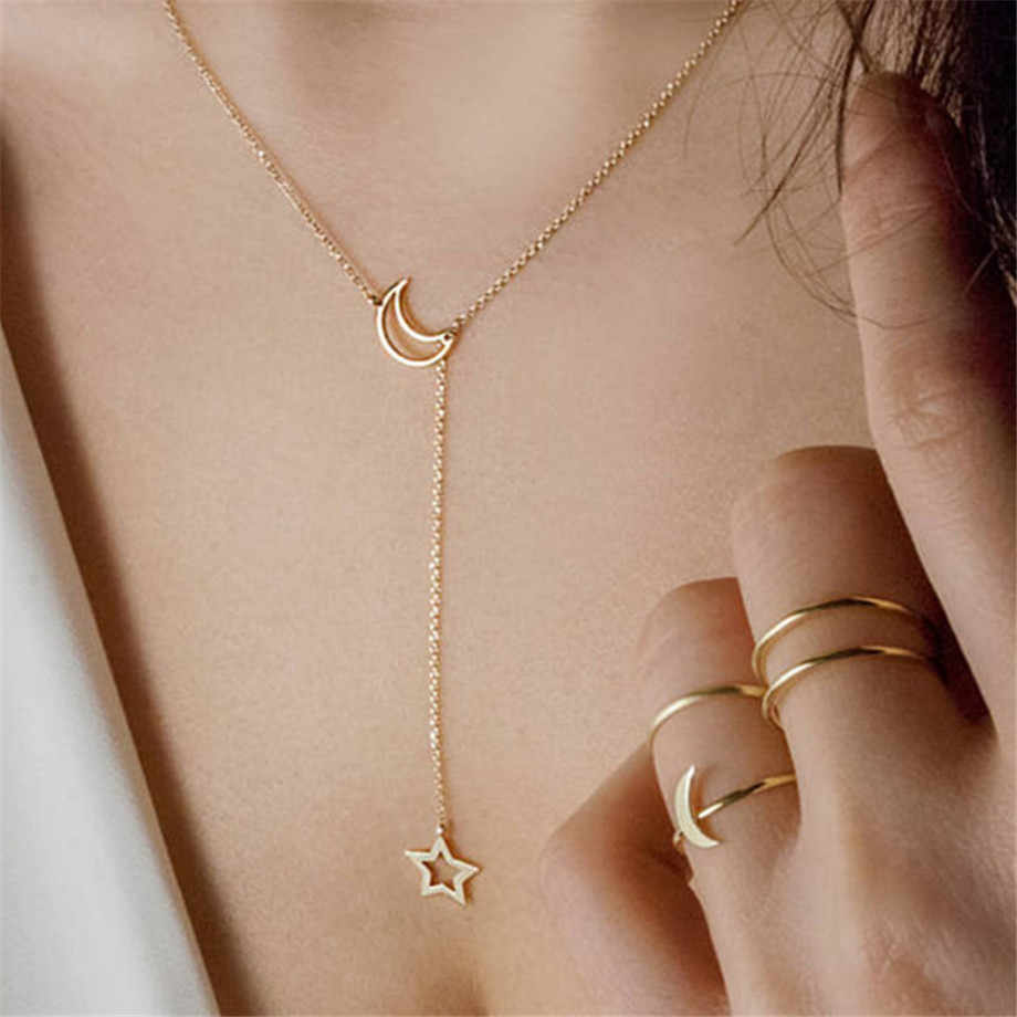 Gold Color Choker Necklace for women Long moon Tassel Pendant Chain Necklaces & Pendants Laces velvet chokers Fashion Jewelry
