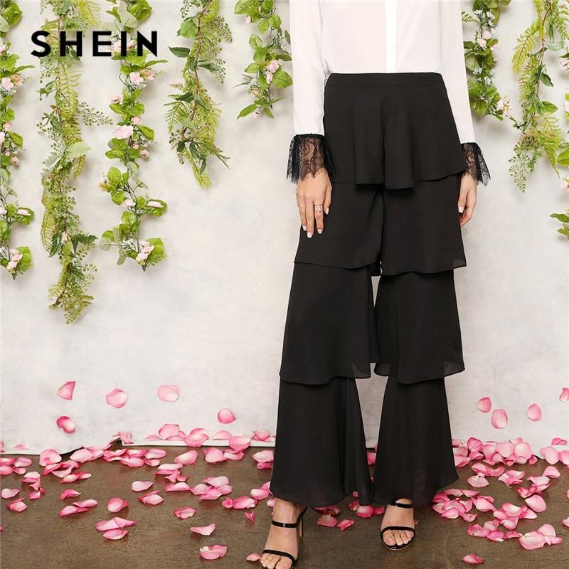 e6901ba70cf4 ราคาถูก SHEIN Zip กลับสีดำฉัตร Layered Ruffle กางเกงยาวกางเกง Office Lady  ผู้หญิง