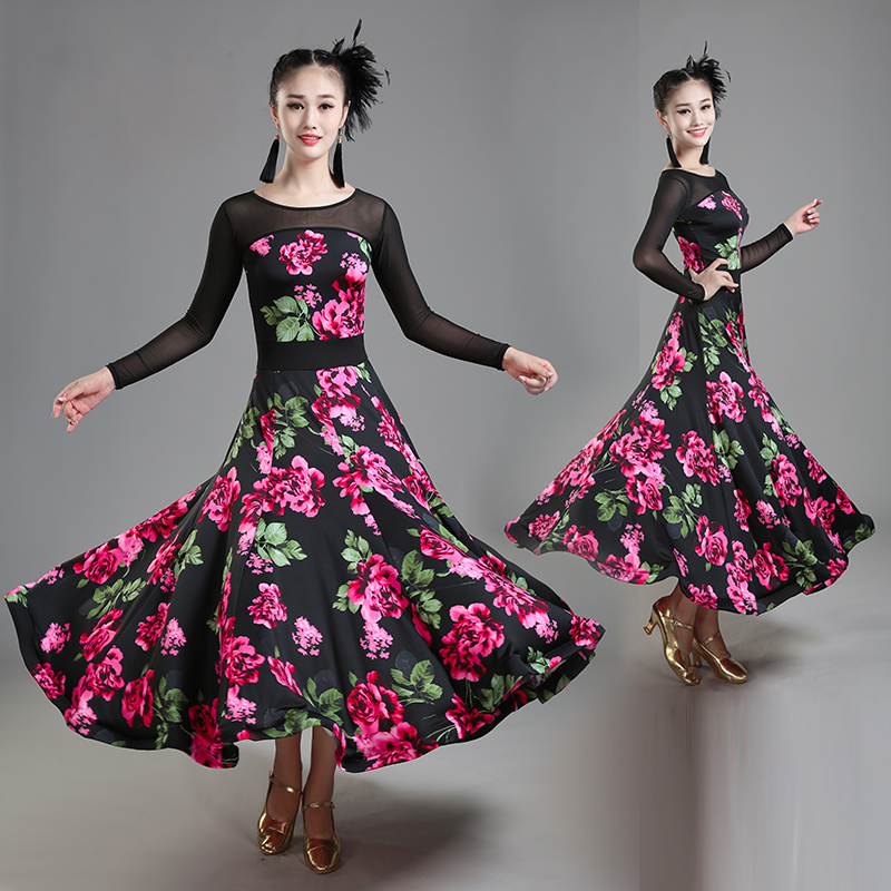 Women Ballroom Competition Modern Dance Costumes Practice Dress Adult Long Sleeve