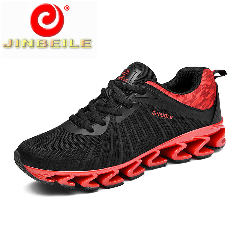 JINBEILE 2019 New Men Sneakers Breathable & Cushioning Mens Running Shoes Durable Rubber Outsole Couple Men Shoes Running 39-46
